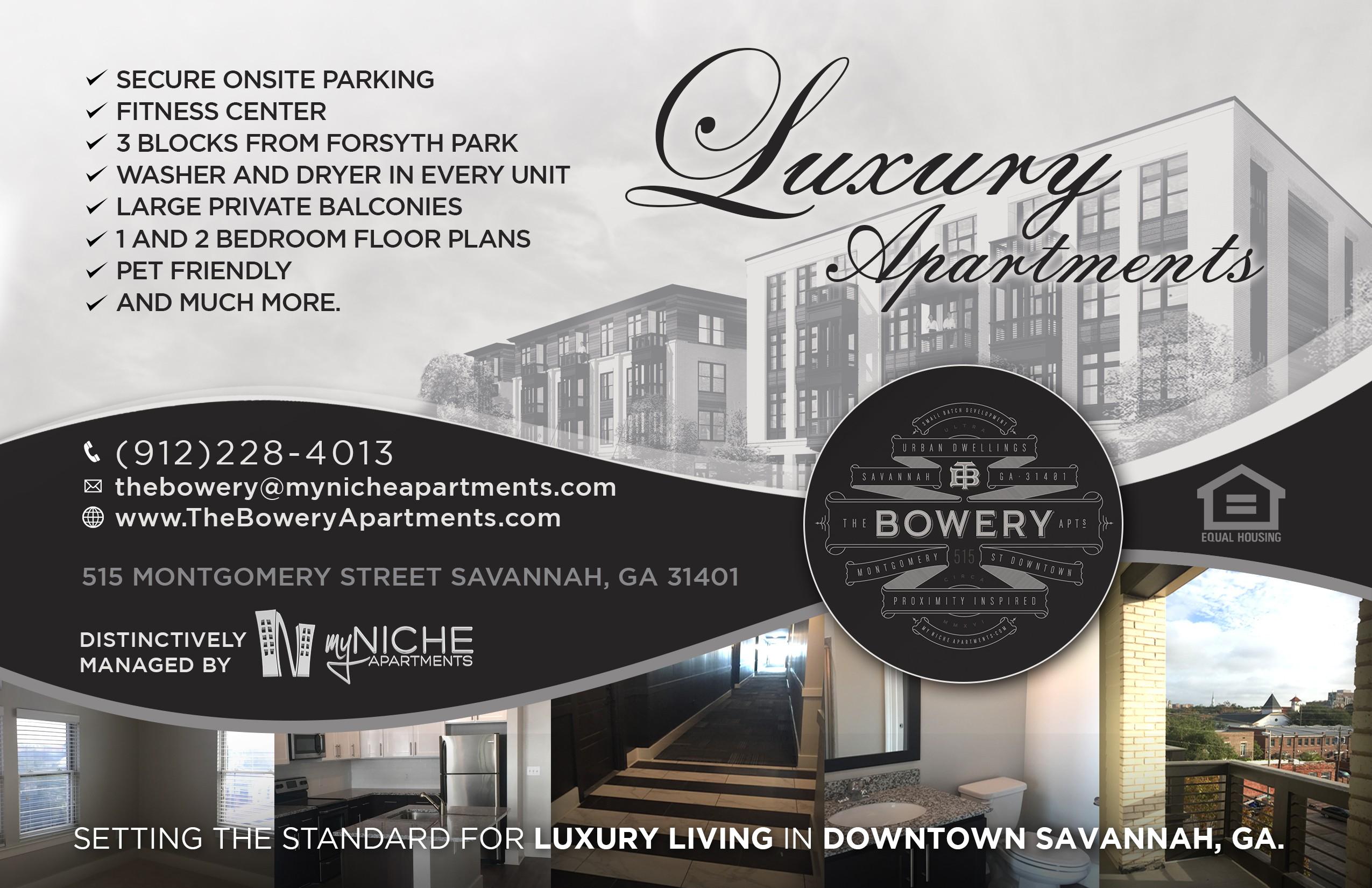 Savannah Magazine Ad-The Bowery Apartments