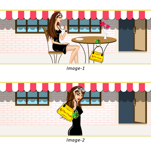 Illustration of a girl using a Bag Hook for her purse.