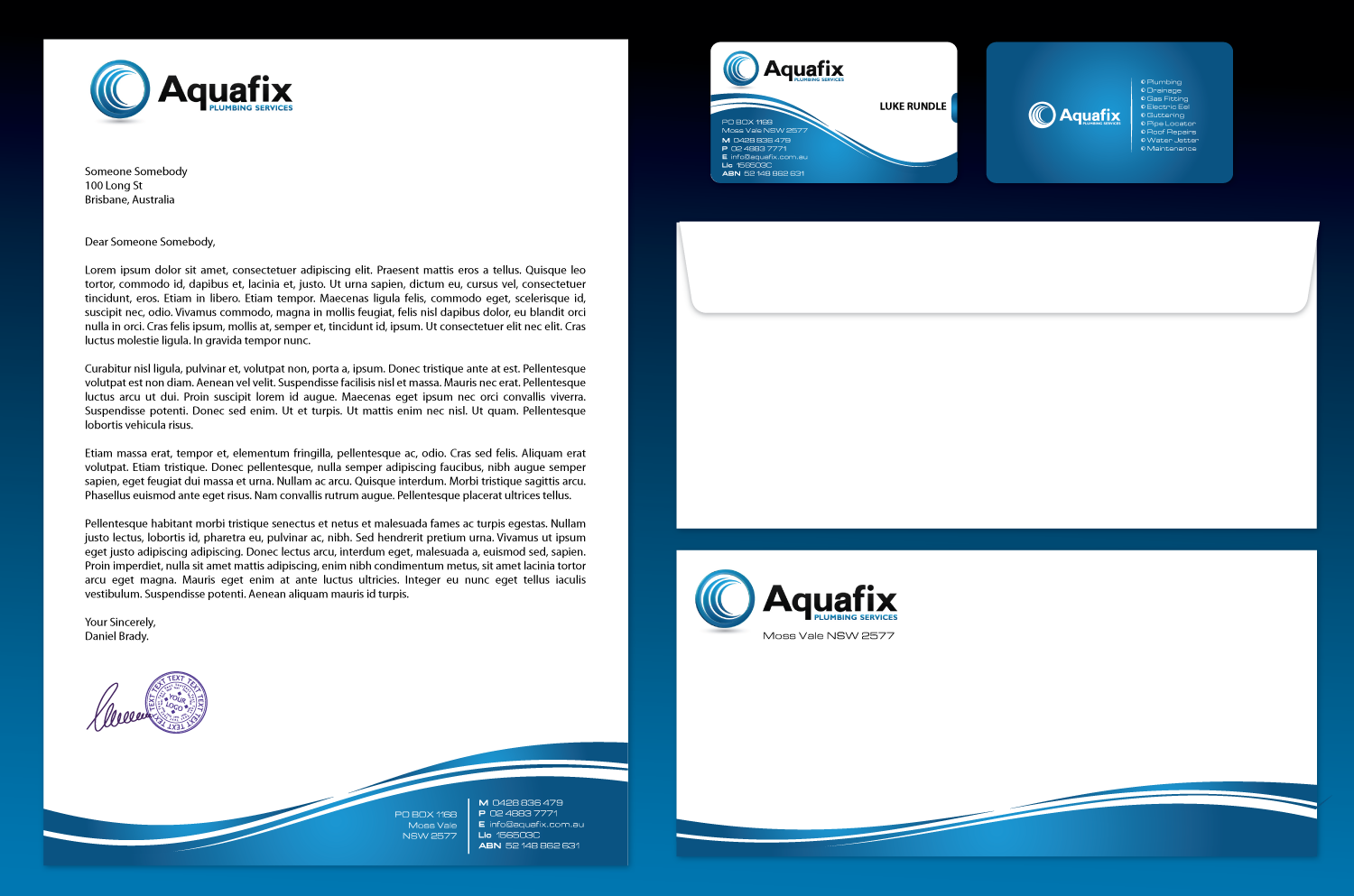 Create the next stationery for Aquafix Plumbing Services