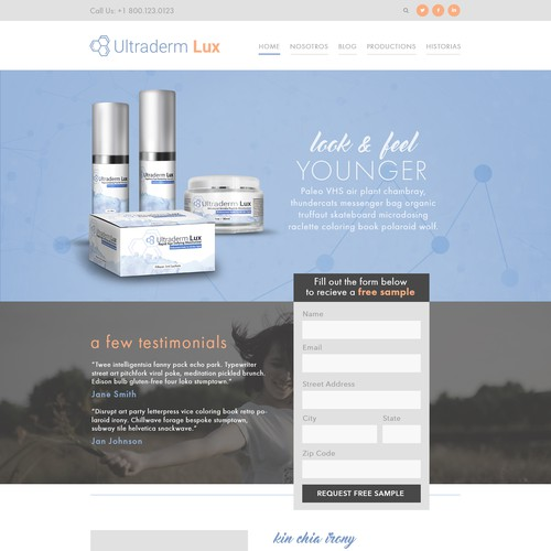 Landing Page Design for Beauty Company