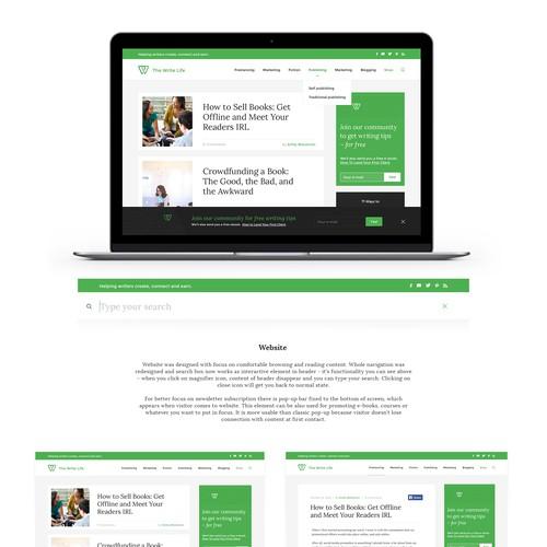 Webdesign for Write Life Blog