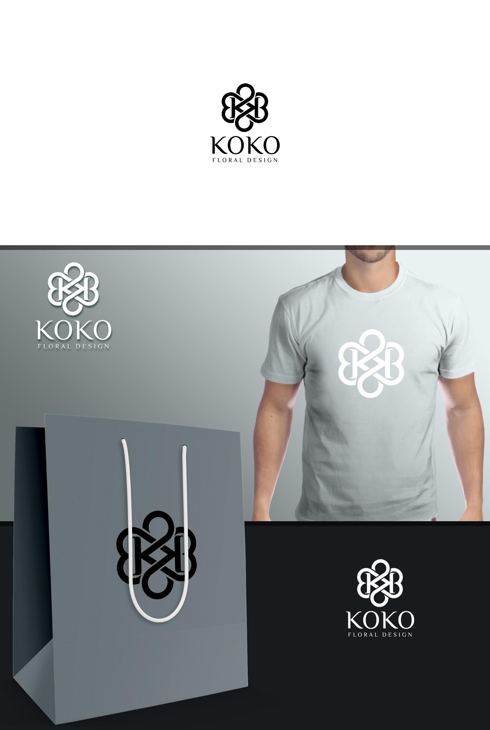 Modern Black and White Logo for floral designer (KOKO)