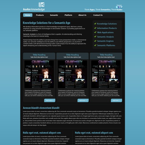 Create the next website design for Kudos Knowledge Pty Ltd