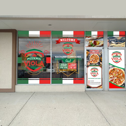 design pizzeria front double window