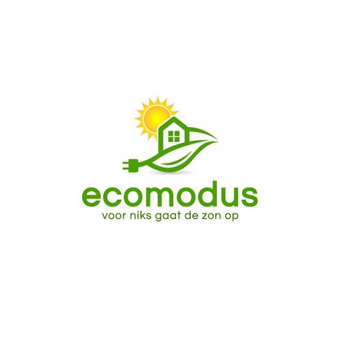 Combineer handelsnaam Ecomodus met zon, elektriciteit en een huis.