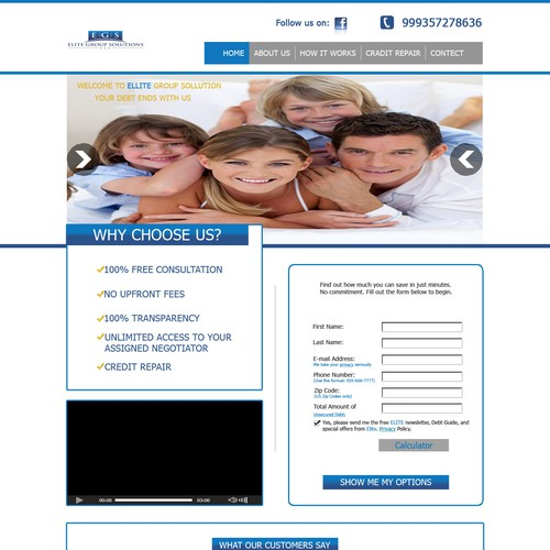 A professional Website for a Debt Settlement/Credit Repair Company ELITE GROUP SOLUTIONS
