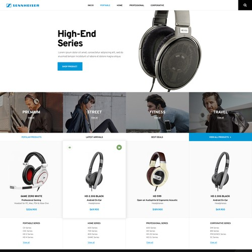 Category page for an official Sennheiser reseller in Chile