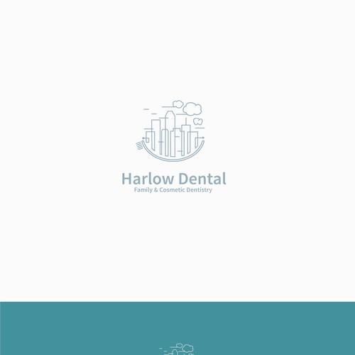 Dental city logo, monoline concept