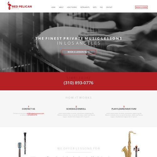 Website design for a music school