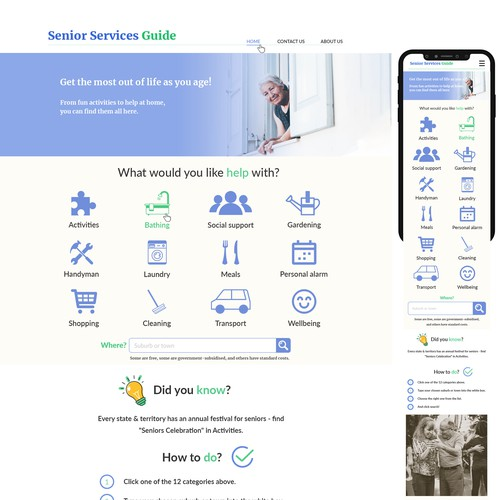 web design concept for senior services