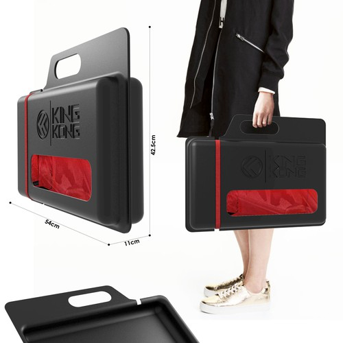 Packaging design for a gym bag.