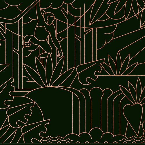 Jungle Scene Envelope Illustration