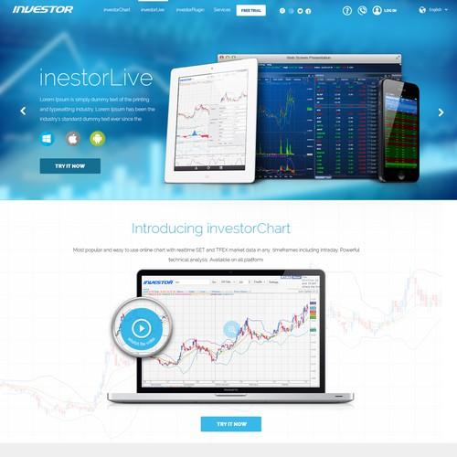 Design webpage for a financial/stock/trader/investor software website.