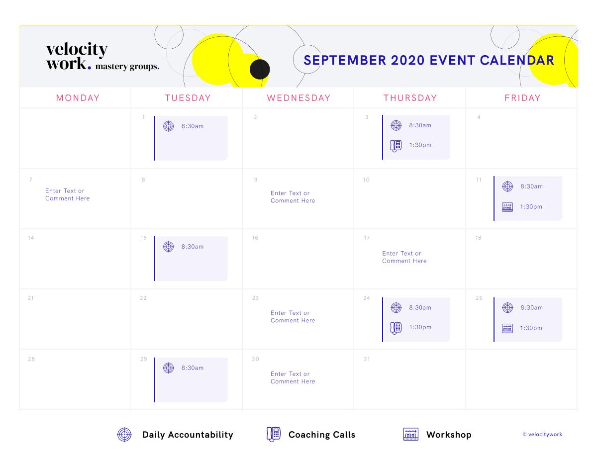 August Master Groups Calendar