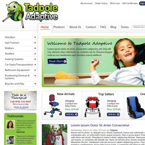 Tadpole Adaptive: We need an AMAZING webstore template redesign!