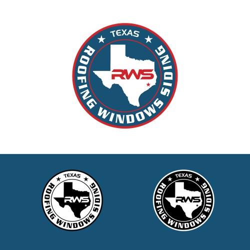 Bold logo for texas roofing windows siding