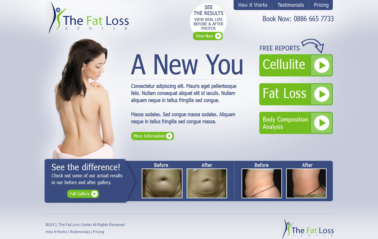 Create the next website design for The Fat Loss Center