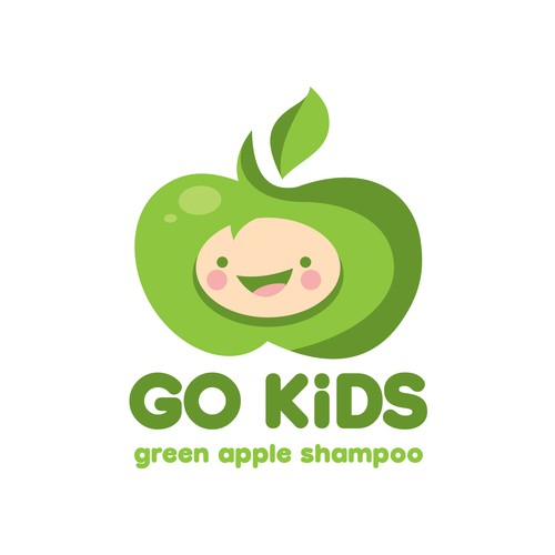 Cute apple character for Kids Shampoo