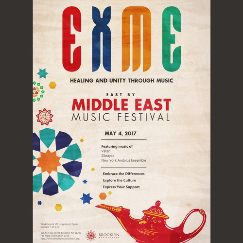 """Eye-Catching Poster for """"East X Middle East Music Festival"""""""