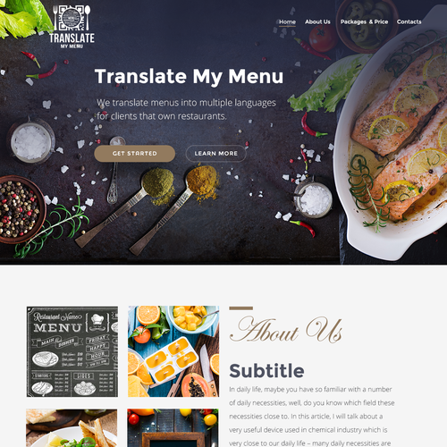parallax homepage for a restaurant themed website and app