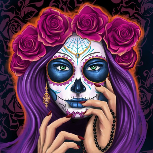 Calavera Girl Poster Canvas Print