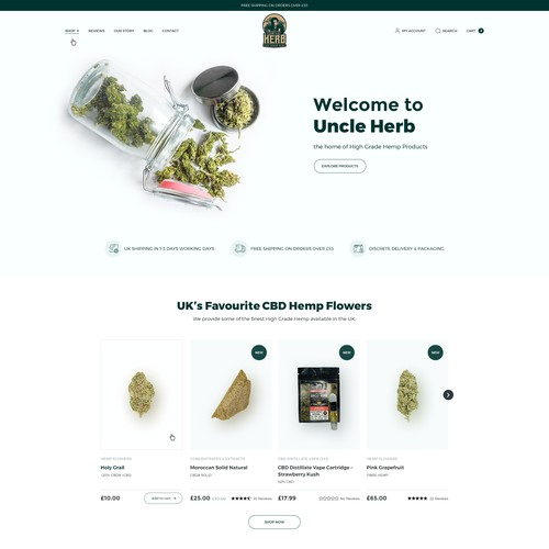 Uncle herb Hemp Flower Website Redesign