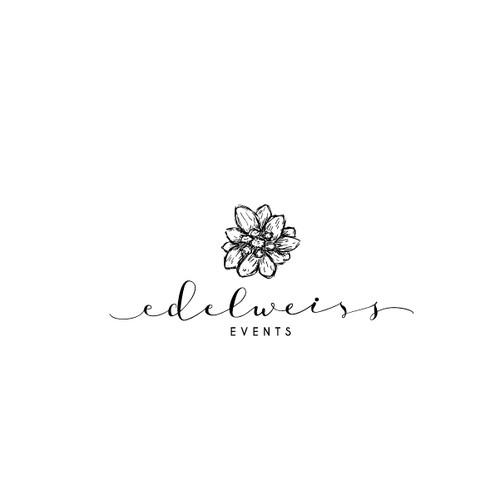fun feminine logo for Edelweiss Events
