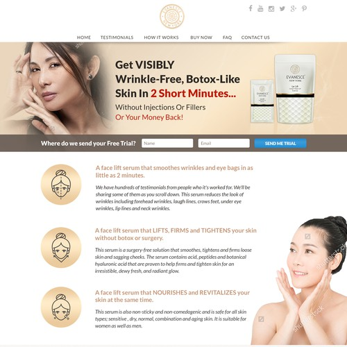 Landing page for beauty