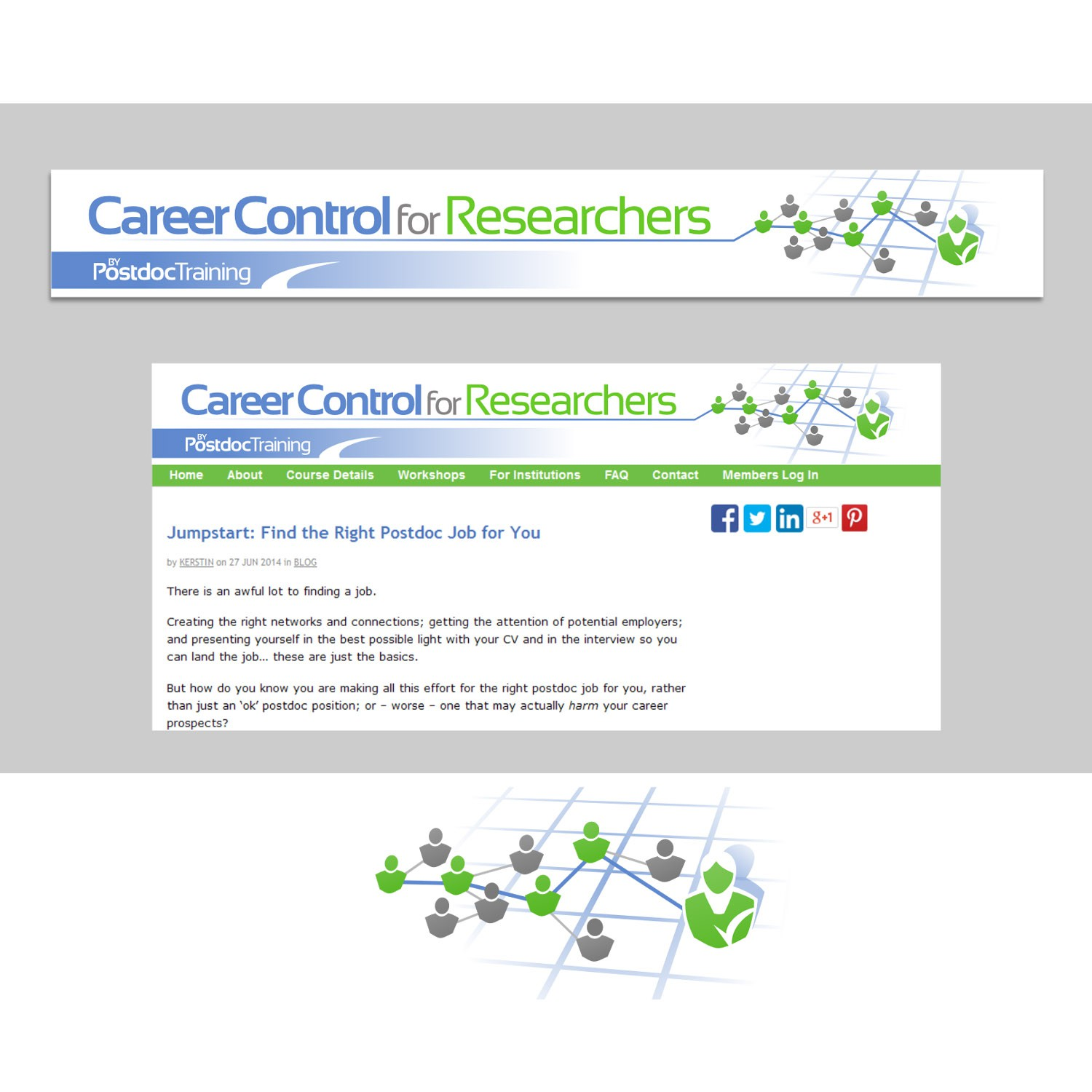 Please design a great website banner for our new training program, 'Career Control for Researchers'