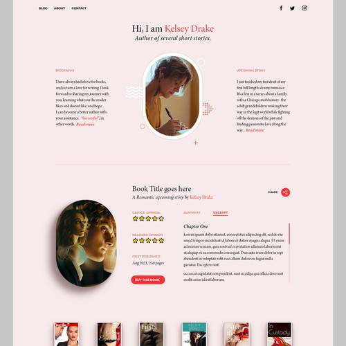 Webpage design for Short story writer