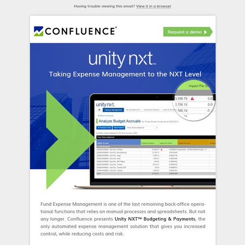 Email design for Unity NXT Budgeting & Payments