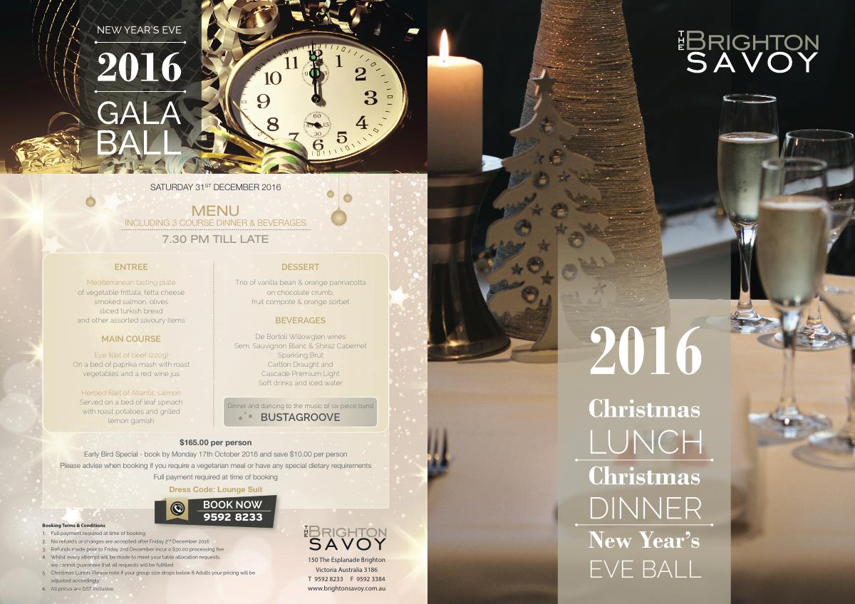 Update of Christmas and NYE Brochure