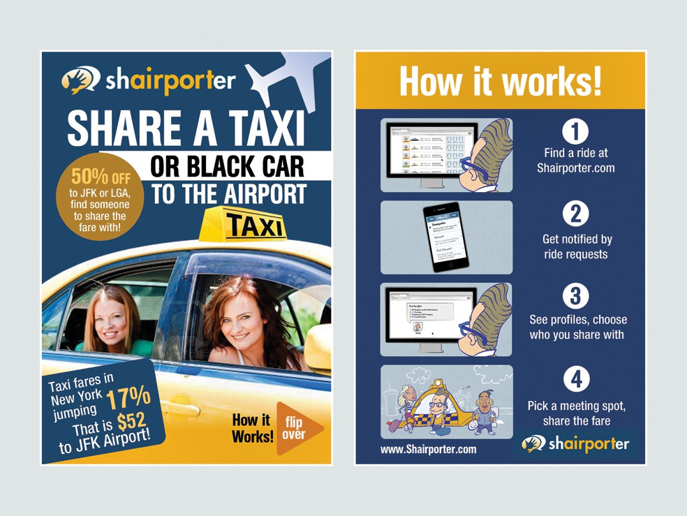 Shairporter: Share your Taxi to the Airport (Flyer design)
