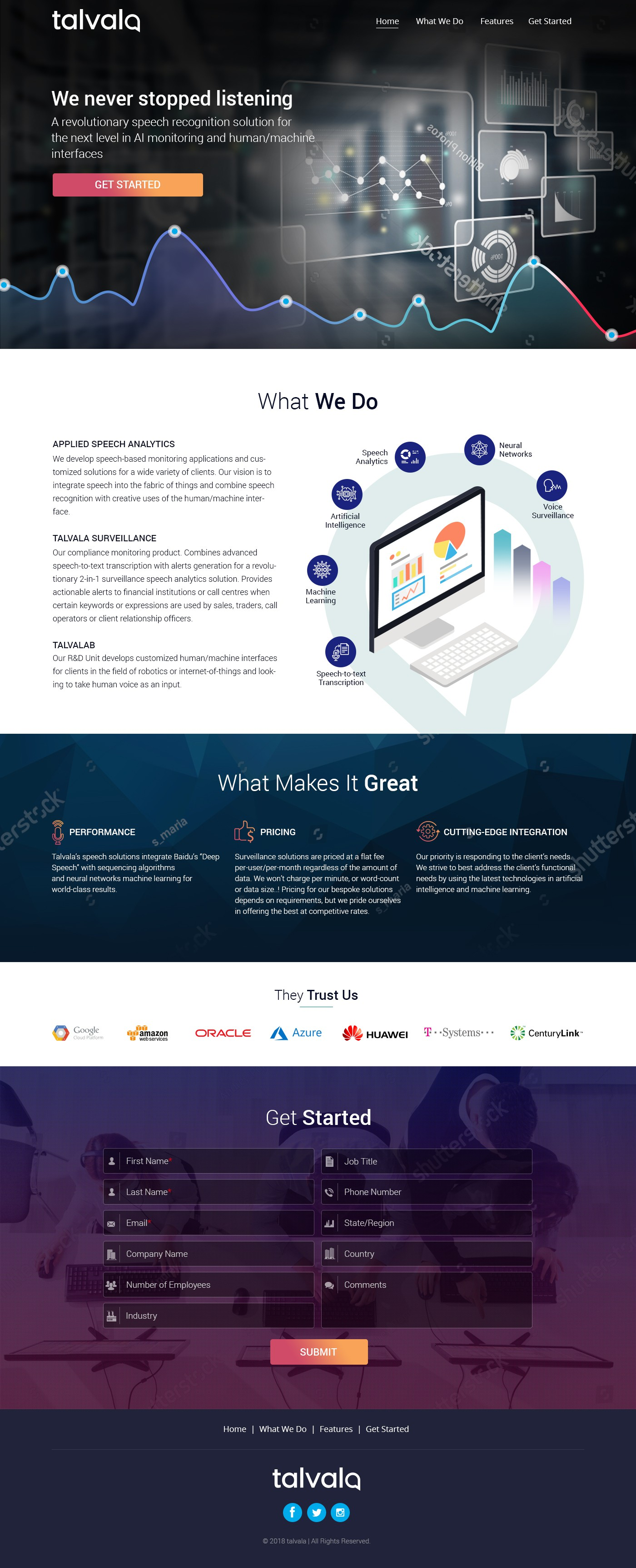 Landing page for a technology startup