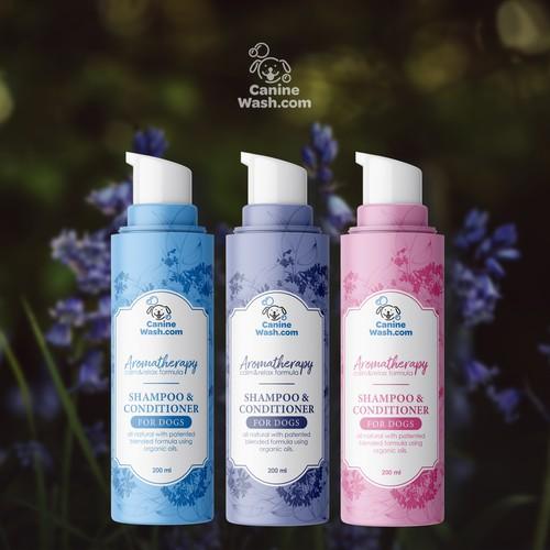 Dog aromatherapy shampoo label