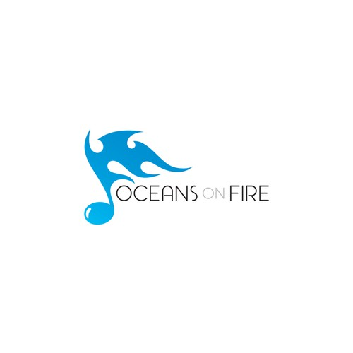"""Oceans on fire"" logo concept for music producer."