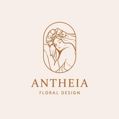 Feminine flower goddess logo design