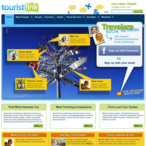 website design for TouristLink