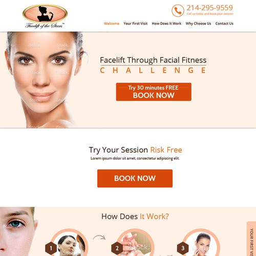 Create a stunning page for a non-surgical facelift center.