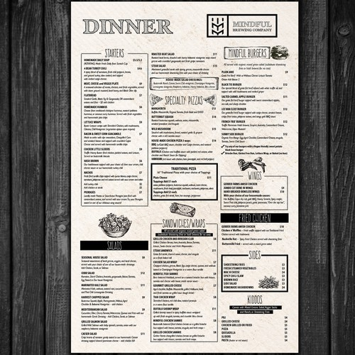 Menu for Brewery