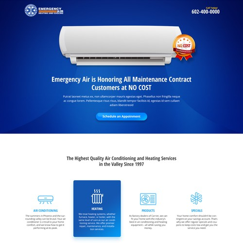 Air Conditioner Services Landing Page