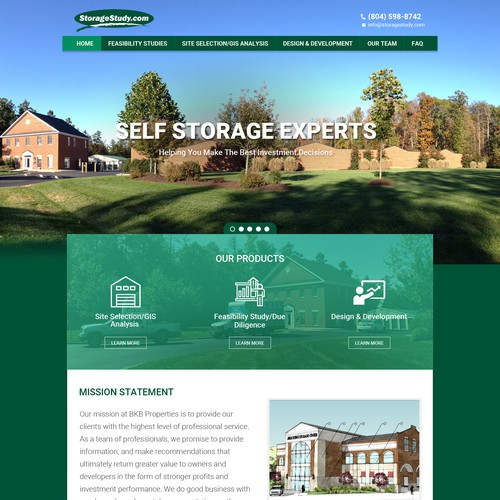 Customized responsive design for self storage consulting company