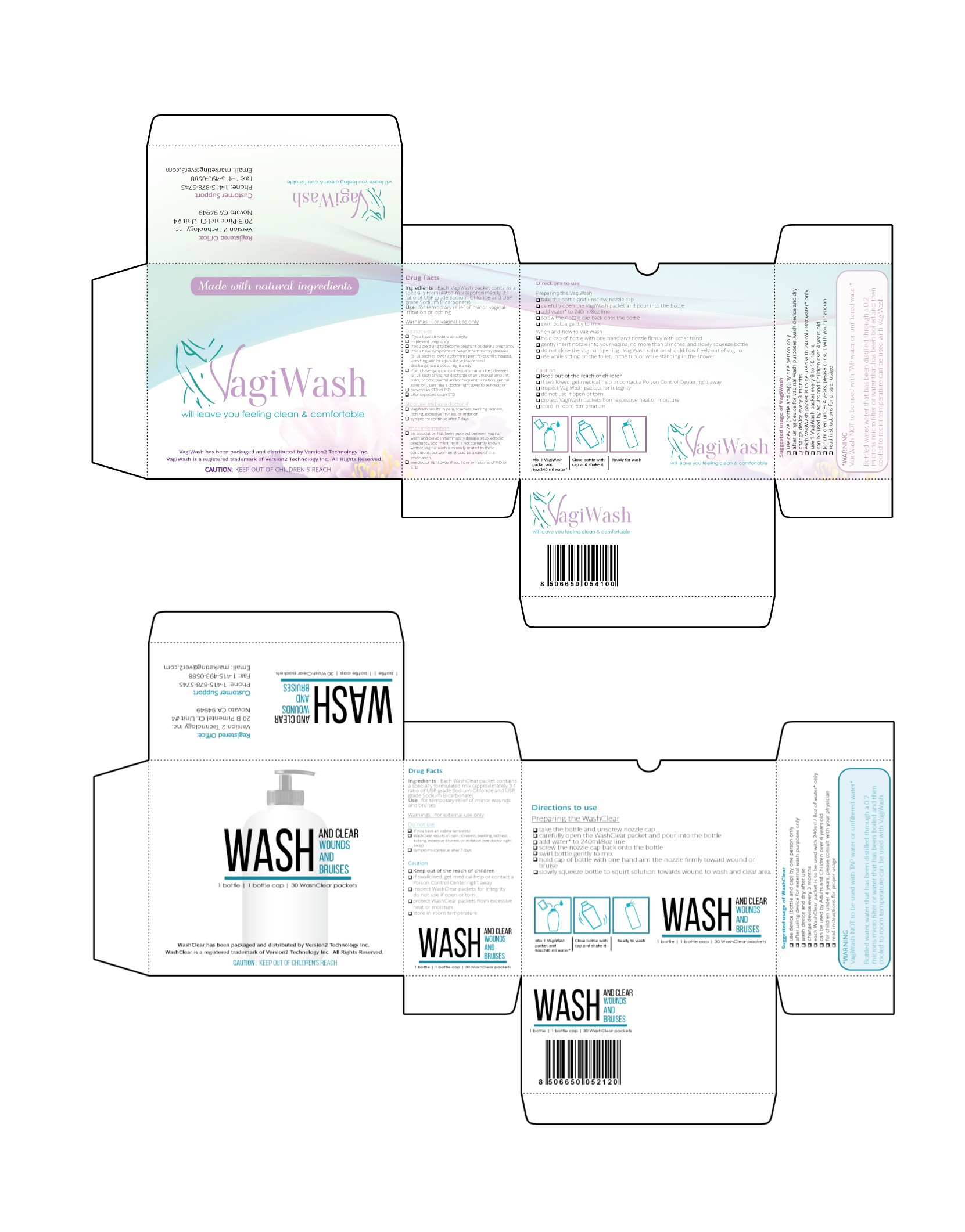 Create a capturing product package for Vaginal Wash and Wound Wash