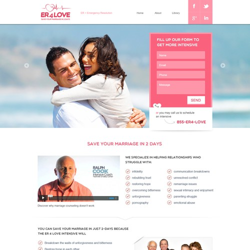 Design a creative landing page for ER 4 LOVE
