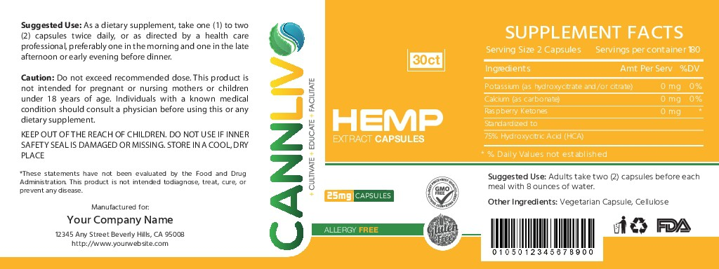 Design a hemp supplement label for Latin American distribution