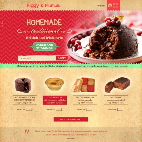 Create online brand for traditional, home-baked cake and pudding subscription club