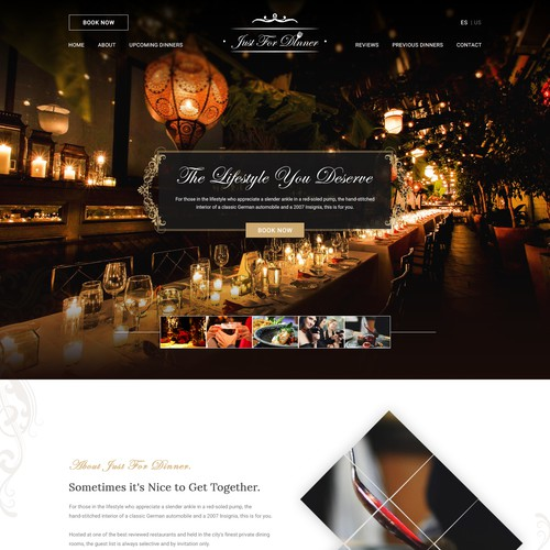 Just For Dinner - Landing Page
