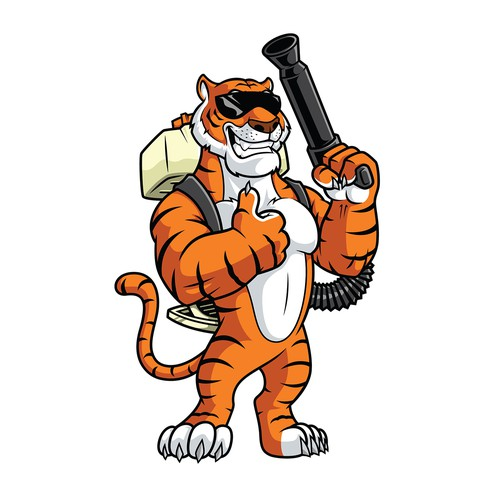 Tiger mascot logo for an outdoor pest and mosquito control company