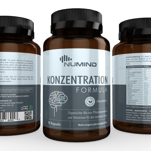 Brain Supplement Label Design