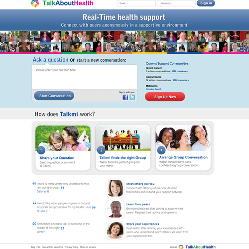 TalkAboutHealth.com- design 2 web pages- minimal and intuitive